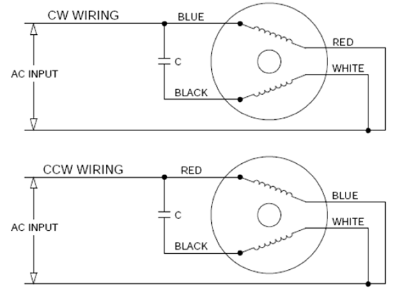 AC Induction Motors - ACP-M Single Phase Wiring