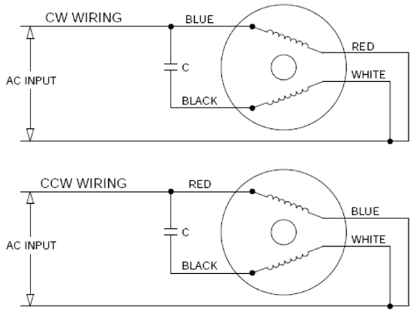AC Induction Motors - ACP-Mxl Single Phase Wiring