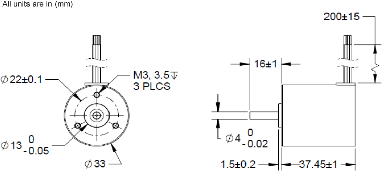Brushless DC Motors - BLWR13 Dimenion