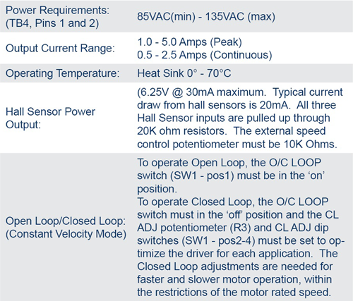 Brushless DC Controllers - MDC200-048051 Specifications