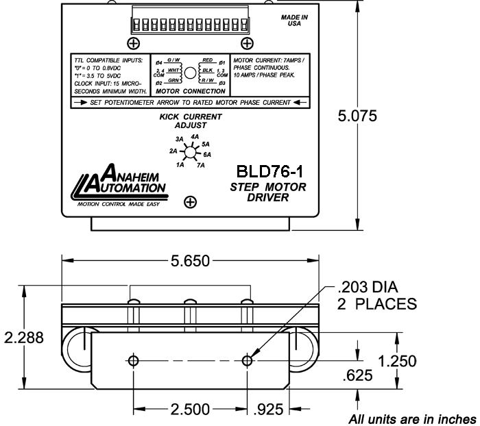 Stepper Drivers - BLD75-1 Dimension