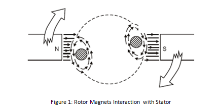 Figure 1: Rotor Magnets; Interaction with Stator